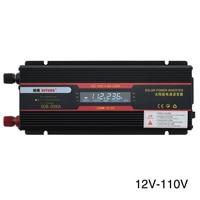 6000W Car Inverter Indicator Lamp Trucks USB Aluminum Alloy LCD Display Universal Socket Black Modified Sine Wave Transformer