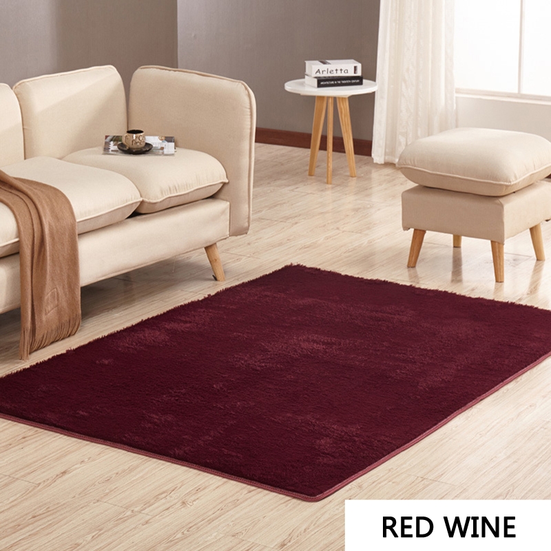 US $5.27 40% OFF|EHOMEBUY Modern Rugs Solid Color Red Wine Rectangle Floor  Carpets For Bedroom 14 Sizes Living Room Balcony Anti Slip Door Mats-in Rug  ...