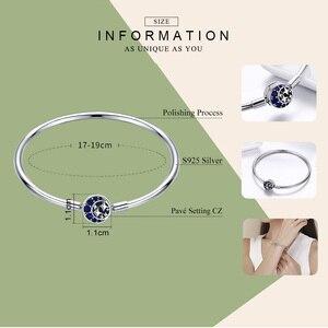Image 2 - BAMOER Echtem 100% 925 Sterling Silber Blau CZ Mond und Sterne Armband & Armreifen für Frauen Sterling Silber Schmuck S925 SCB080