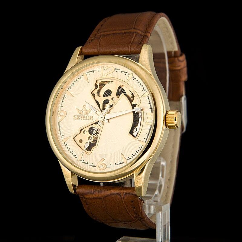 SEWOR Mens Luxury Gold Leather Watch Band Hollow Mechanical Steampunk Skeleton Hand Wind Watch Men Sport Watch