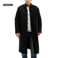 2016 Winter New High Quality Brand Thickening Coat Linen Cotton Long Padded Jacket Chinese Style Men