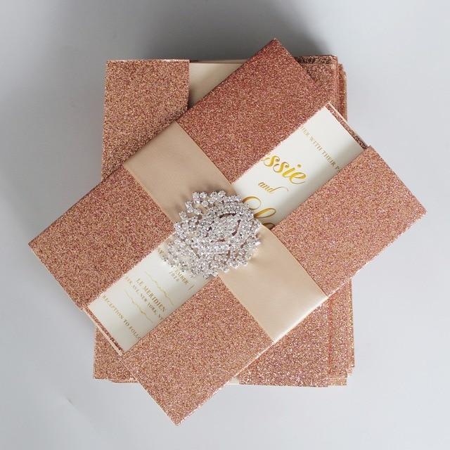 abca185c8b5f Rose Gold Wedding Invitations Shiny Invitation Cards Luxury Wedding  Invitation With Ribbon - Set of 30