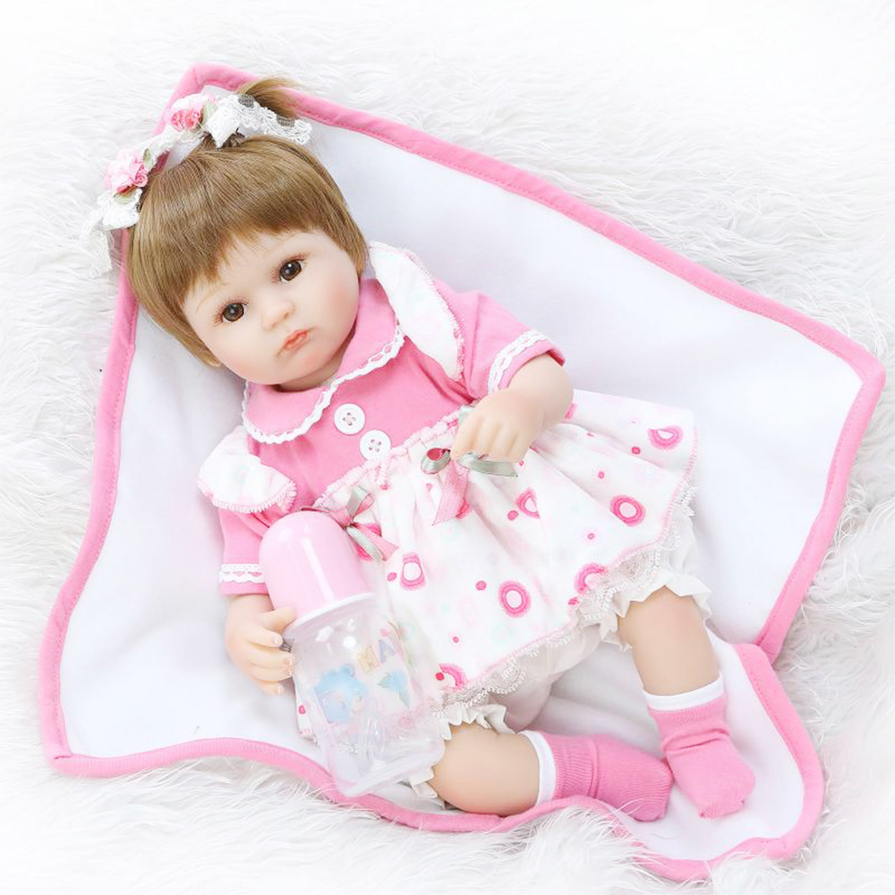 Reborn Baby Doll Complete Silicone Body Reborn Babies Dolls Girls Toys Lifelike Real Soft Kids Brinquedos Boneca Toy 18 Inch basic 2018 women thick heel ankle boots black pu fleeces round toe work shoe red heel winter spring lady super high heel boots