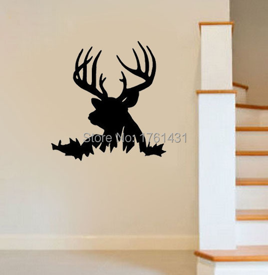 Deer Head Silhouette Buck Hunting Wall Decals Vinyl Stickers Home Decor  Living Room Decorative Wallpaper Murals Quote In Wall Stickers From Home U0026  Garden On ...
