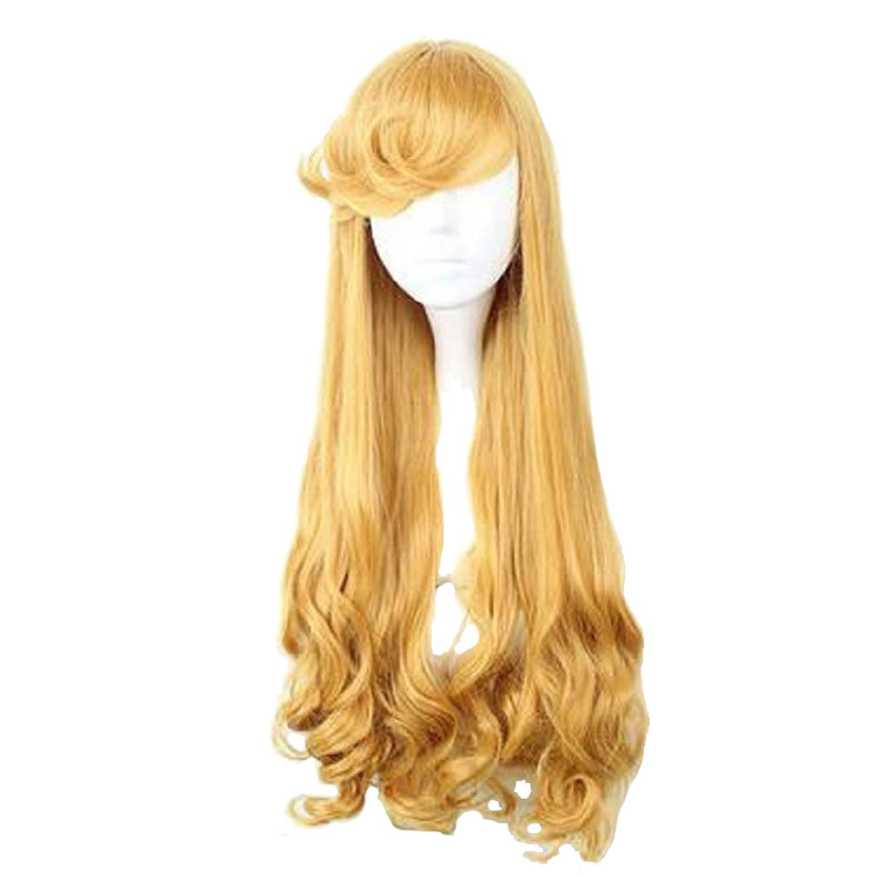 MCOSER 75CM Synthetic Long Curly Coplay Wigs Golden Color 100% High Temperature Fiber Hair WIG-016M ...