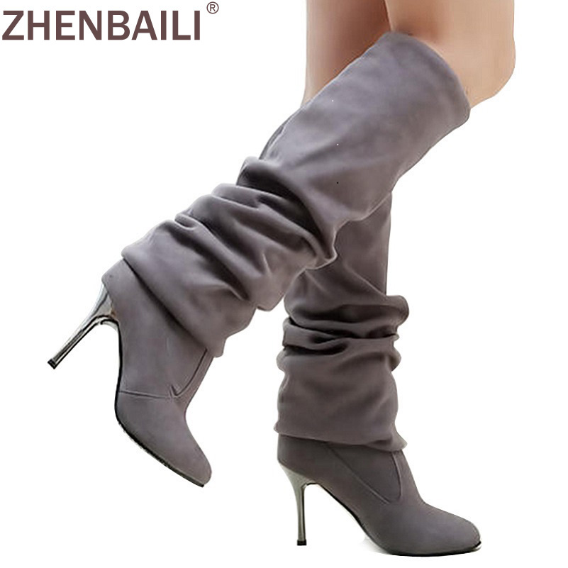 Plus Size 42 43 Women Boots 2017 Autumn Fashion Flock Thin High Heel Shoes Many Wearing Knee Boots Warm Pointed Toe Slip on Boot new 2017 spring summer women shoes pointed toe high quality brand fashion womens flats ladies plus size 41 sweet flock t179