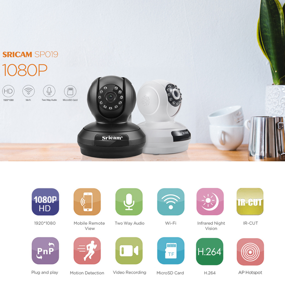 Sricam 1080P Wireless IP Camera Wifi Pan Tilt Surveillance IPcam P2P Baby Monitor Home Security Camera System+8GB TF Card wireless waterproof security camera system 2 4g long transmitter distance 4cameras dvr monitor up to 32g sd card wifi ipcam kits