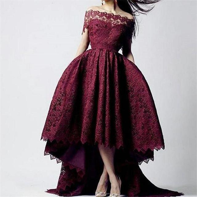 5f8aaa72579 2018 Burgundy Lace Plus Size Party Dresses Arabic Dubai Formal Occasion  High Low Off the Shoulder Mother of the Bride Dresses