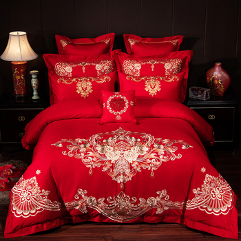 Luxury Gold Rose Embroidery 100% Cotton Red Chinese Style Wedding 4/6/9pcs Bedding Set Duvet Cover Bed sheet/Linen Pillowcases