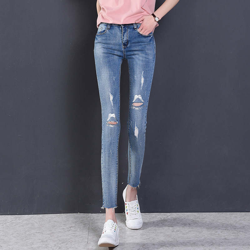 Fashion Ripped Jeans High Waist Skinny Jeans Stretchy Destroyed Women Pants Trousers Sexy Hole Jeans Woman White Pencil Jean liva girl spring women low waist sexy knee hole skinny jeans brand fashion pencil pants denim trousers plus size ripped jeans