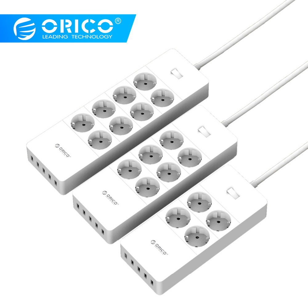 ORICO power Strip электрическая розетка EU Plug 6 Outlet surge protector EU power Strip с 5x2. 4A USB Super charger ports-белый