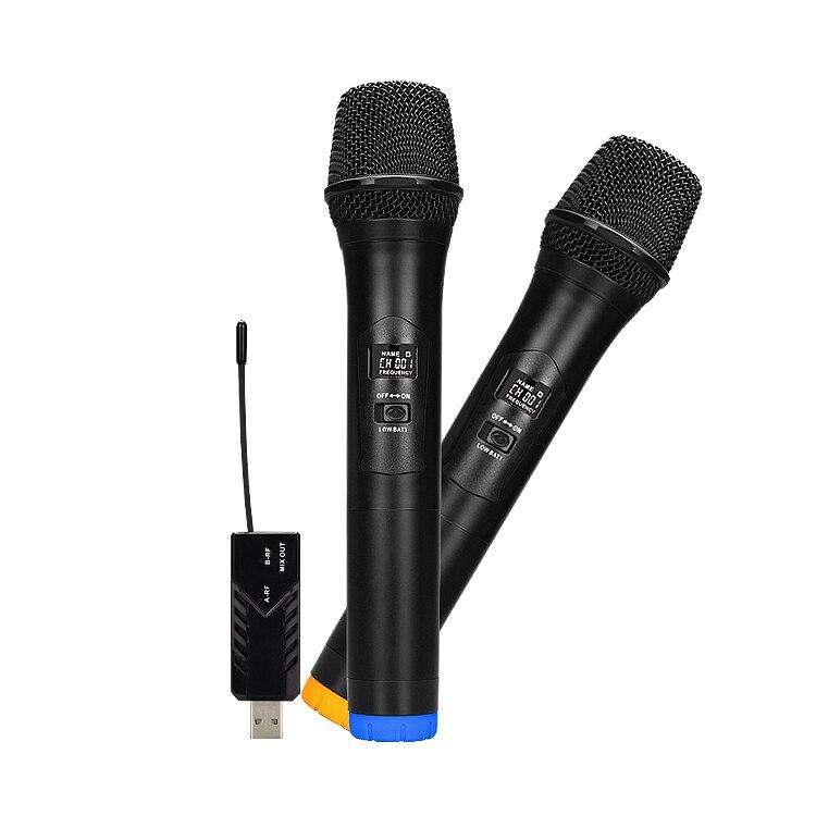 Tüketici Elektroniği'ten Mikrofonlar'de UHF Mini Çift El Kablosuz Mikrofon WM 2 Evrensel Mikrofon Ana Mikrofon açık hava etkinlikleri KTV Karaoke title=