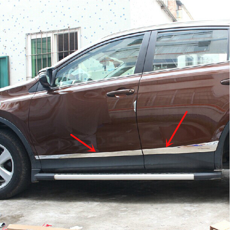 For Toyota RAV4 RAV 4 2014 2015 2016 2017 Car Styling Side Door Mouldings Stainless Steel Side Door Body Trim Cover Stickers for toyota corolla levin 2014 2015 car styling center control gear panel gears side decoration trim stainless steel