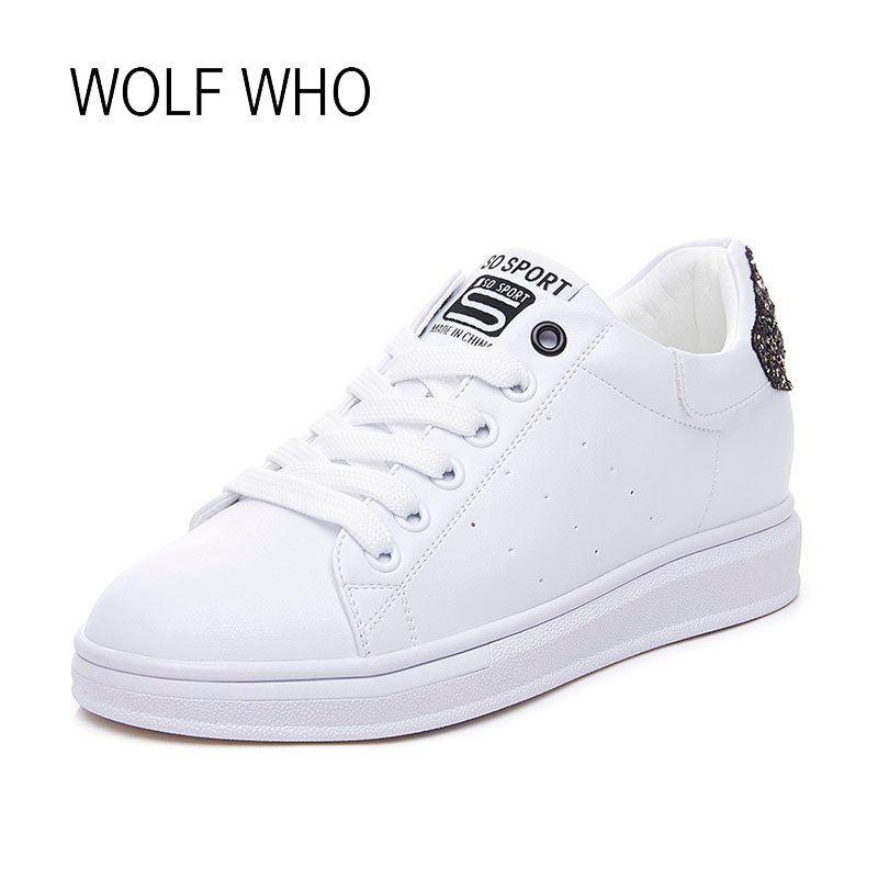WOLF WHO 2018 Spring Womens Hidden Wedge Sneakers Ladies White Leather Shoes Womens High Heels Sneakers H-218 bamboo womens driven 77 casual wedge