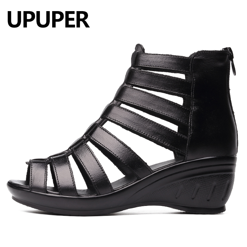 UPUPER Gladiator Sandals Summer Shoes Black Wedges Breathable Genuine-Leather Women Zipper