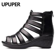 Upuper couro genuíno gladiador sandálias mulher respirável sapatos de verão mulher cunhas pretas senhoras sapatos com zíper sapatos femininos