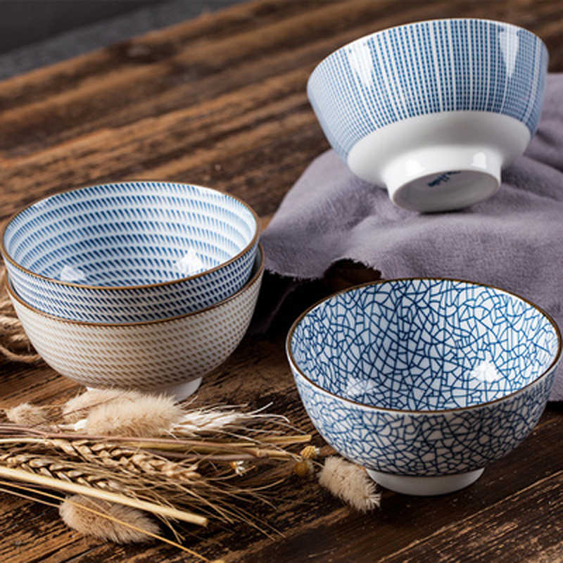 Set of 2//4//6pcs Blue and White Porcelain JAPANESE Rice Soup Bowls with Gift Box