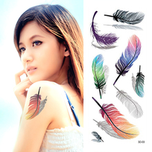 3D Feather Temporary Tattoo Colorful Feather Fake Arm Tattoos Beautiful Arm/Wrist Stickers Waterproof
