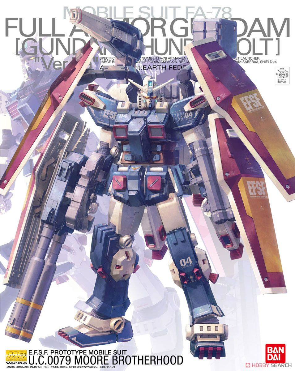 Bandai 1 100 MG FULL ARMOR GUNDAM VER KA THUNDERBOLT VER Mobile Suit Action Figures Assemble