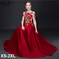 Luxury women red A line dinner banquet long Dress floral embroidery lace mesh Party Formal floor length Dresses plus size ouc985