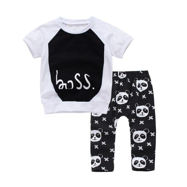 c585480bc 2PCS baby boy clothes short sleeve black Fashion T shirt +pants Panda print  baby girl clothing set Newborn Toddler Infant outfit