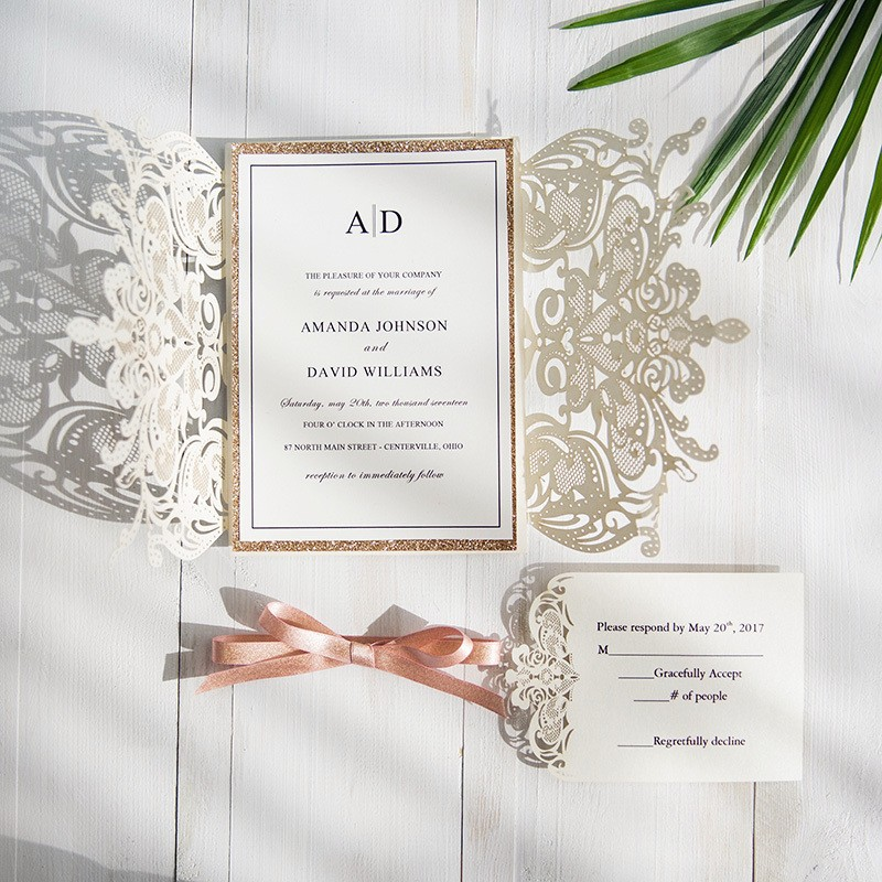 100 pieces lot Customize Print High end White Wedding Invite Card Laser Floral Glittery Engagement