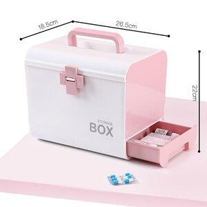 Image 5 - בית ערכת העזרה הראשונה רפואת תיבת אחסון קופסא פלסטיק מיכל חירום ערכת נייד רב שכבתי קיבולת גדולה רפואה חזה