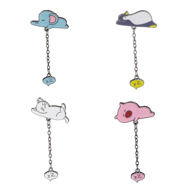Pinos de esmalte porco cor de rosa gato branco Broches Elefante azul pinguim lapela emblema do pino pinos Preguiçoso animal broche broche do sono Ronco cadeia