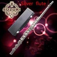 Посеребренная Флейта Высокое качество Флейта SUZUKI 16 Отверстие C Посеребренная Закрытая отверстие флейта инструмент/посылка Бесплатная отпр