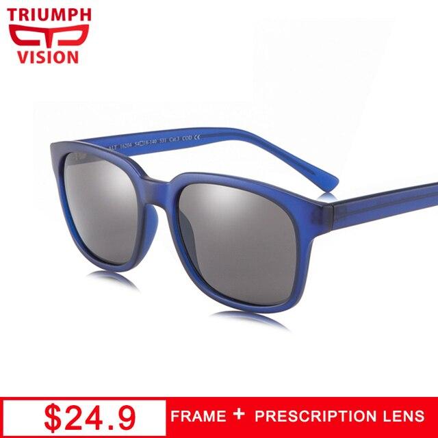 f8f5d6ed78 TRIUMPH VISION Matte Blue Frame Myopia Glasses for men Square Diopter  Eyeglasses Photochromic Glasses Prescription Sunglasses