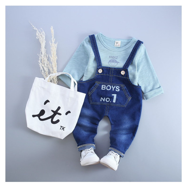 2016 news autumn spring children clothing set baby grils T shirt +jeans overalls Long sleeve +pants cartoon clothes suit