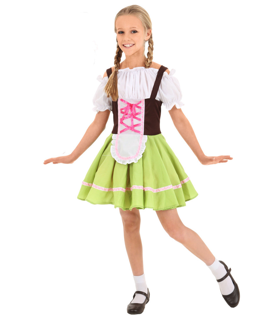 Kid's Oktoberfest Costumes German Bavarian Beer Girl Costume Child Uniform Outfit