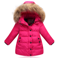 2018 New girls' down jacket kids thicken warm coat children's down winter jacket girls parkas raccon fur on hooded jacket 90 130
