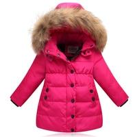 2018 New girls' down jacket kids thicken warm coat children's down winter jacket girls parkas raccon fur on hooded jacket 90 130