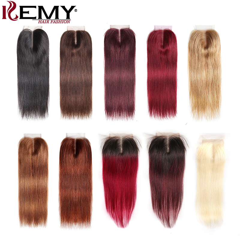 4*4 Brazilian Lace Closure KEMY HAIR 100% Non-Remy Straight Human Hair Free/Middle/Three Part Swiss Lace Closure Free Shipping