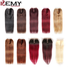 4*4 Brazilian Lace Closure KEMY HAIR 100% Non-Remy Straight Human Hair Free/Middle/Three Part Swiss Free Shipping