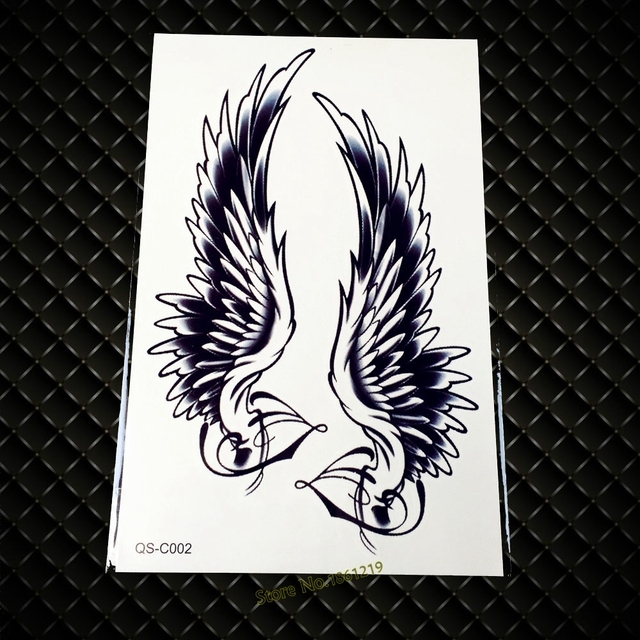 Cool Fashion Large Black Arm Tattoo GQS-C002 Sexy Angel Wings Feather Design Back Tattoo Women Henna Waterproof Temporary Tattoo