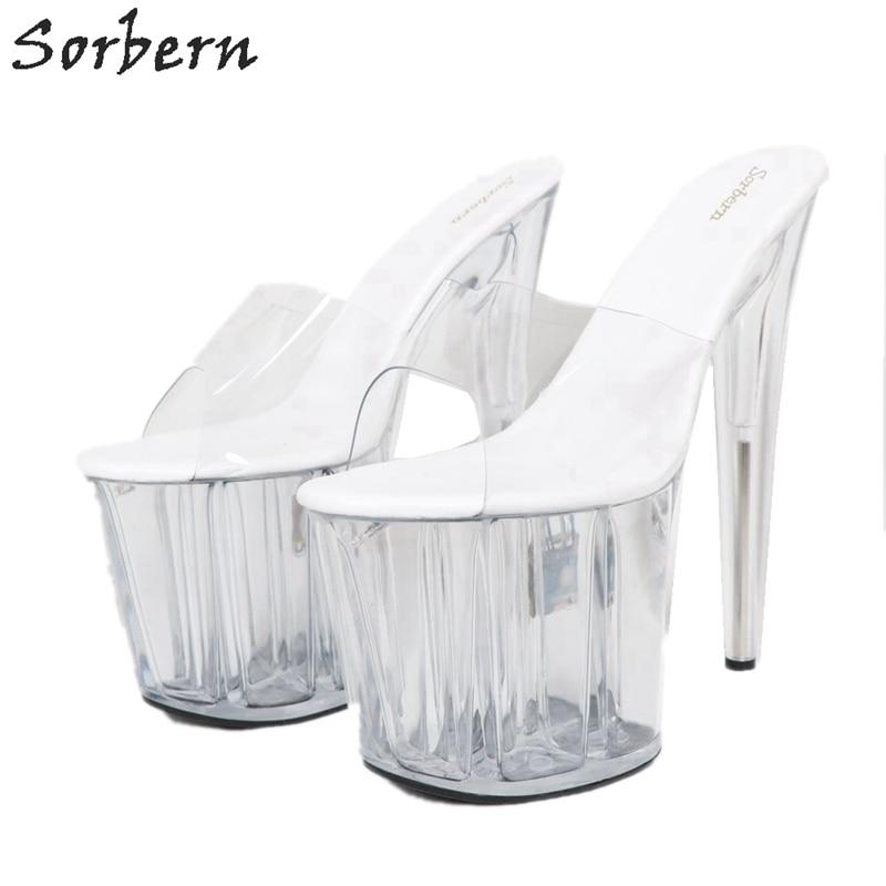 Sorbern Women Slippers Transparent Pvc Slip On Slides Ladies 20Cm High Heels Open Toe - 5