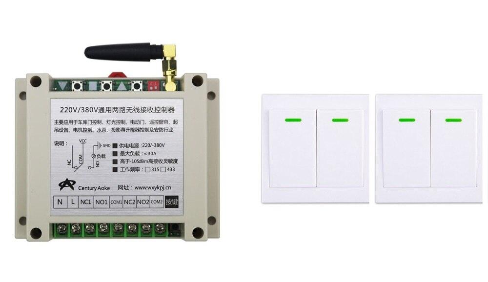 AC220V 250 V 380 V 30A 2CH Remoto RFWireless Transmisor Receptor + 2 * Panel De