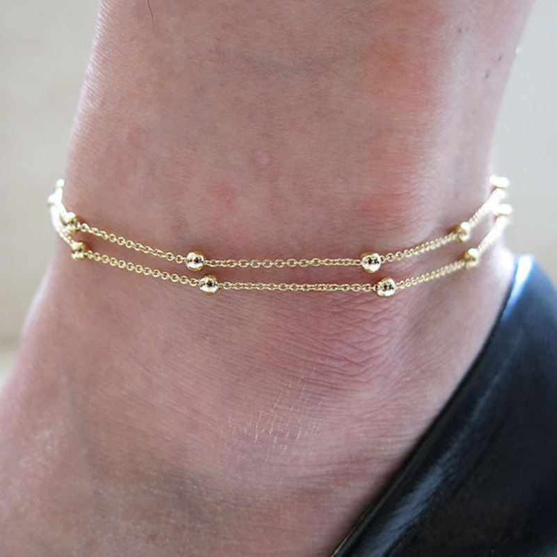 Burst models in Europe and America trade jewelry foot showcase foot double ring chain beads anklets