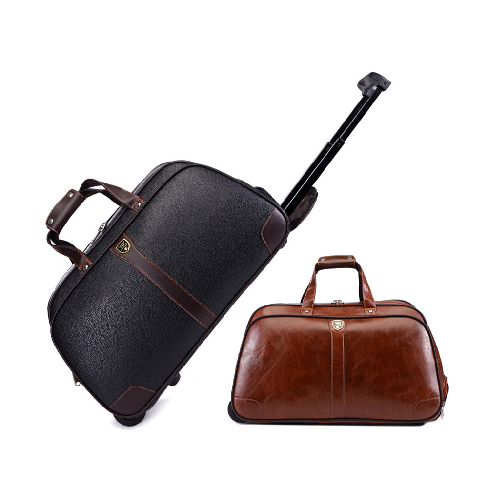 LeTrend High-quality Travel Bags Men Businesses Rolling Luggage PU Leather Suitcase Wheels Trolley  Large Capacity Cabin Trunk
