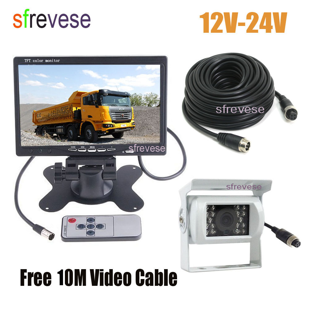 White 4Pin CCD Reversing Parking Backup Camera 7 LCD Monitor Car Rear View Kit with 10M