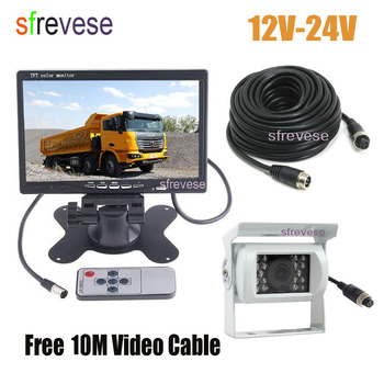 """White 4Pin CCD Reversing Parking Backup Camera + 7"""" LCD Monitor Car Rear View Kit with 10M Cable for Bus Truck Motorhome 12V-24V"""