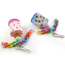 Bird Toys Parrot Toys Swing Parrot Cage Sponge Bell Hanging Cockatiel Parakeet Pet Bird Bites Climb Chew Toys Wholesale noMY29