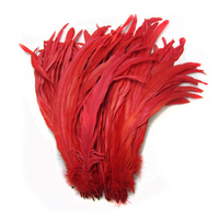 100pcs 35 40cm /14 16inch RED natural loose rooster feather/cock feather/chicken feather for wedding decoration/cosplay