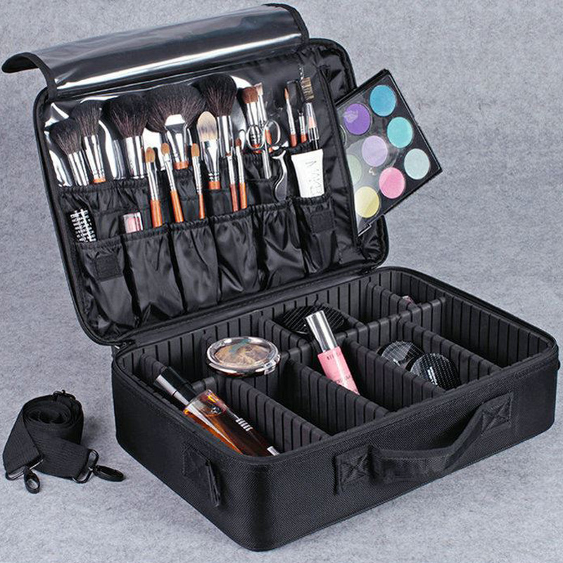 Hotrose Professional Makeup Suitcase For Cosmetics Beauty Artist Makeup  Brush Case Travel Large Capacity Storage Bag ...