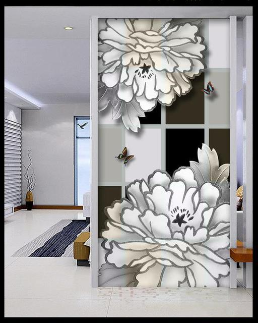 3d Wallpaper 3D Mural Black And White Peony Blossoming For Tv Sofa Background Wedding Decoration