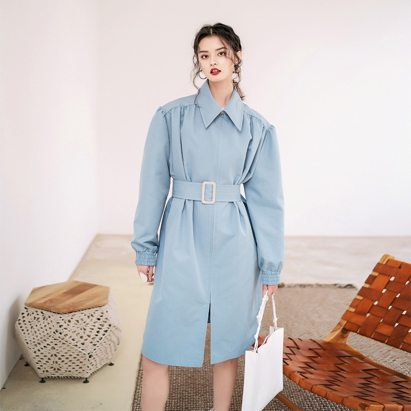 Outerwear Grace Trench-Coat Spring Oversize Office Loose Long Waterproof Fashion Light-Blue