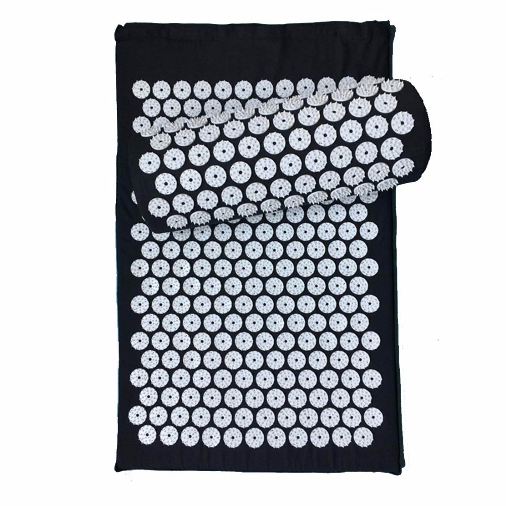 Massage cushion Acupressure Mat Relieve Stress Pain Acupuncture Spike Yoga Mat Massager with Pillow Thick cotton and Plant-based 50 pcs lot 36 14 10cm relieve stress pain acupuncture spike yoga pillow without sponge acupressure massage pillowcase