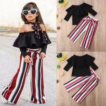 Комплекты одежды для маленьких девочек Однотонные черные топы